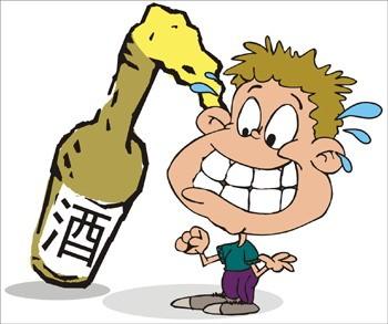 卡通小孩喝酒